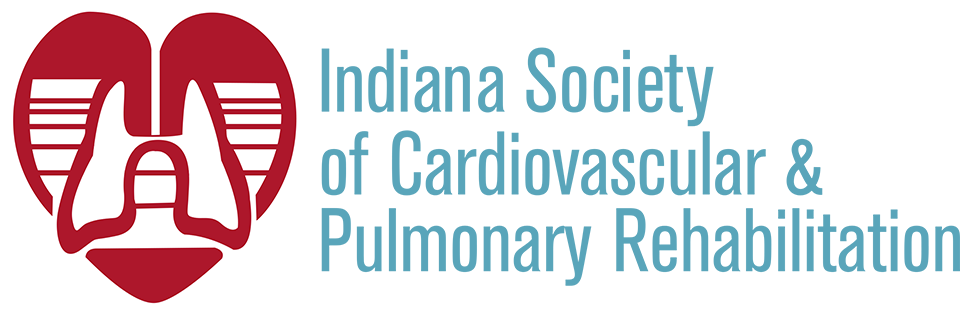Indiana Society of Cardiovascular & Pulmonary Rehabilitiation logo with heart and lungs in red and white